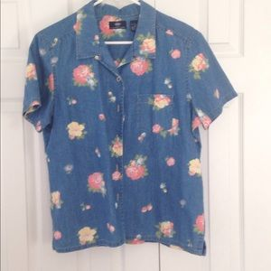 Denim short sleeve shirt with flower print size L